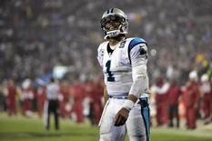Jan 3, 2015; Charlotte, NC, USA; Carolina Panthers quarterback Cam Newton (1) reacts during the fourth quarter against the Arizona Cardinals in the 2014 NFC Wild Card playoff football game at Bank of America Stadium. Jeremy Brevard-USA TODAY Sports