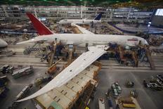 Workers at South Carolina Boeing work on a 787 Dreamliner for Air India at the plant's final assembly building in North Charleston, South Carolina, in this file photo taken December 19, 2013.   REUTERS/Randall Hill/Files