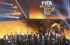 Vencedores da premiação Bola de Ouro da Fifa em 2014, em Zurique, na Suíça, nesta segunda-feira. 12/01/2015 REUTERS/Arnd Wiegmann