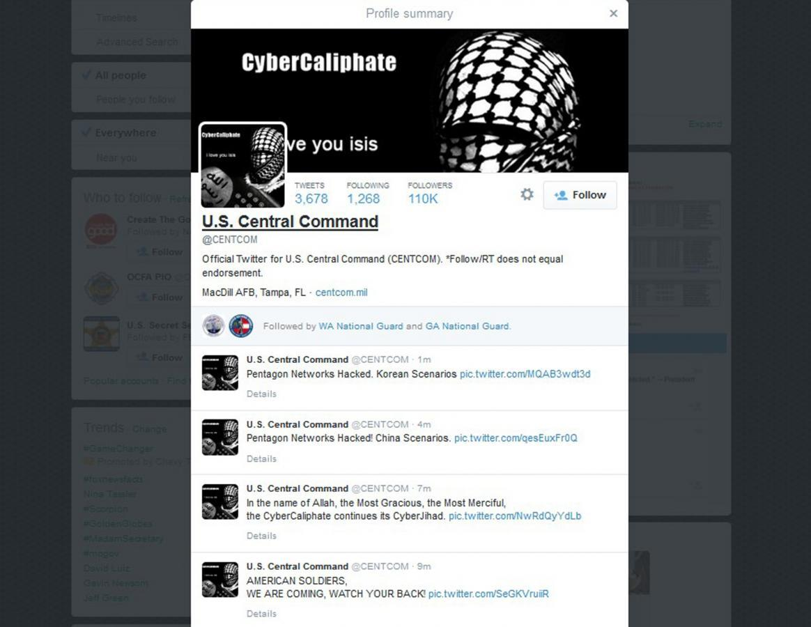 Apparent Islamic State backers hack U S  military Twitter