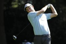 Sep 12, 2014; Atlanta, GA, USA; Chris Kirk tees off on the third hole during the second round of the Tour Championship at East Lake Golf Club. Mandatory Credit: Brett Davis-USA TODAY Sports