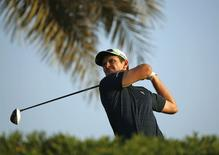 Britain's Justin Rose tees off on 11th hole during the Abu Dhabi Golf championship January 16, 2015. REUTERS/Ahmed Jadallah
