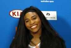 Serena Williams of the U.S. reacts during a media conference at Melbourne Park January 17, 2015. The Australian Open tennis tournament begins on January 19.     REUTERS/Issei Kato