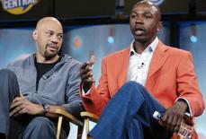 "Former NBA player Greg Anthony (R) and writer John Ridley, participants in the new TV Land show ""That's What I'm Talking About,"" attend a panel discussion at a Television Critics Association press tour in Pasadena, California, January 11, 2006.  REUTERS/Chris Pizzello"