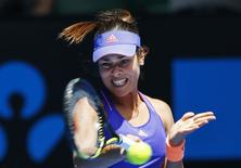 Ana Ivanovic of Serbia hits a return to Lucie Hradecka of Czech Republic during their women's singles first round match at the Australian Open 2015 tennis tournament in Melbourne January 19, 2015. REUTERS/Issei Kato