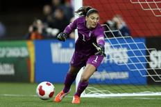 May 8, 2014; Winnipeg, Manitoba, Canada; United States goalkeeper Hope Solo (1) looks to make a save during the second half against Canada at Investors Group Field. Canada and USA played to a 1-1 draw. Mandatory Credit: Bruce Fedyck-USA TODAY Sports