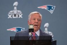 January 26, 2015; Chandler, AZ, USA; New England Patriots owner Robert Kraft addresses the media during a press conference after their arrival in preparation for Super Bowl XLIX at the Sheraton Wild Horse Pass Hotel. Kyle Terada-USA TODAY Sports