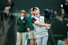 Jan 31, 2015; Scottsdale, AZ, USA; PGA golfer Martin Laird watches his tee shot on the 16th hole during the third round of the Waste Management Phoenix Open at TPC Scottsdale. Laird is in the lead with a 13 under going into the final round. David Wallace-Arizona Republic via USA TODAY Sports