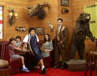"""ABC's """"Fresh Off the Boat"""" stars Forrest Wheeler as Emery, Ian Chen as Evan, Hudson Yang as Eddie, Constance Wu as Jessica and Randall Park as Louis. REUTERS/ABC/Bob D'Amico/Handout"""