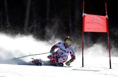 Feb 13, 2015; Beaver Creek, CO, USA; Marcel Hirscher of Austria in run one of the men's giant slalom in the FIS alpine skiing world championships at Birds of Prey Racecourse. Mandatory Credit: Eric Bolte-USA TODAY Sports