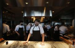 Rene Redzepi, the head chef of Noma in Copenhagen, poses for pictures after an interview with Reuters at Noma at Mandarin Oriental Tokyo February 10, 2015. REUTERS/Yuya Shino