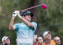 Bubba Watson hits from the 2nd tee box during the third round of the Waste Management Phoenix Open at TPC Scottsdale. Mandatory Credit: Cheryl Evans-Arizona Republic via USA TODAY Sports