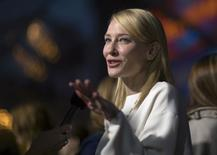 """Cast member Cate Blanchett is interviewed at the premiere of """"Cinderella"""" at El Capitan theatre in Hollywood, California in this March 1, 2015 file photo. REUTERS/Mario Anzuoni/Files"""