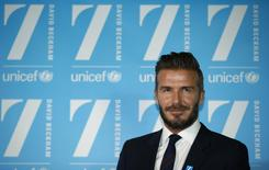 David Beckham attends a press conference at Google's headquarters in central London, February 9, 2015. REUTERS/Peter Nicholls