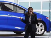 General Motors CEO Mary Barra speaks next to the 2016 Chevrolet Volt hybrid during the first press preview day of the North American International Auto Show in Detroit, Michigan January 12, 2015.   REUTERS/Rebecca Cook