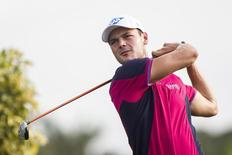 Feb 28, 2015; Palm Beach Gardens, FL, USA; Martin Kaymer tees off on the 11th hole during the second round of the Honda Classic at PGA National GC Champion Course. Mandatory Credit: Peter Casey-USA TODAY Sports