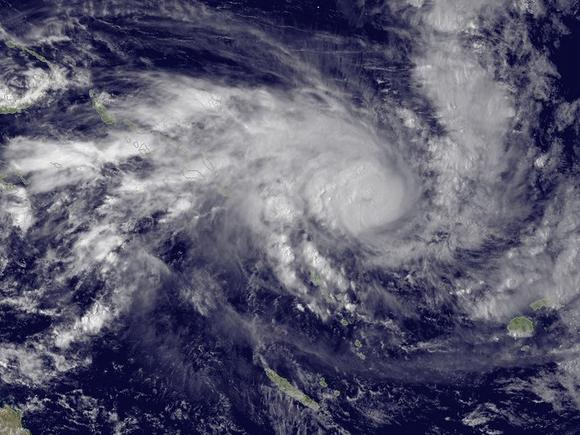 Tropical Cyclone Pam heading for the islands of Vanuatu in the southern Pacific Ocean in a satellite image taken March 11, 2015. REUTERS/NOAA