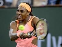 Mar 13, 2015; Indian Wells, CA, USA;  Serena Williams (USA) during her match against Monica Niculescu (ROU) at the BNP Paribas Open at the Indian Wells Tennis Garden. Mandatory Credit: Jayne Kamin-Oncea-USA TODAY Sports
