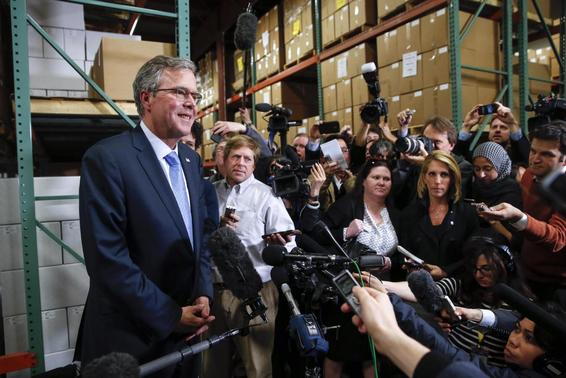 Former Florida Governor Jeb Bush speaks to the media after visiting Integra Biosciences during a campaign stop in Hudson, New Hampshire March 13, 2015.  REUTERS/Shannon Stapleton