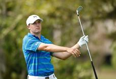 Jordan Spieth hits his tee shot on the 13th hole during round two action on the Copperhead Course during the Valspar Championship at Innisbrook Resort. Mandatory Credit: Rob Schumacher-USA TODAY Sports