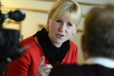 Swedish Foreign Minister Margot Wallstrom gestures during an interview with Sweden's TT News Agency at the Ministry of Foreign Affairs in central Stockholm, March 11, 2015. REUTERS/Claudio Bresciani/TT News Agency