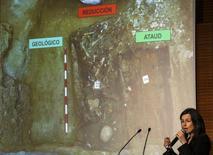 Antropóloga Almudena Garcia em entrevista coletiva em Madri sobre os restos de Miguel de Cervantes. 17/03/2015 REUTERS/Andrea Comas