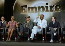 """(L-R) Cast members Trai Byers, Taraji P. Henson, Terrence Howard, directors Lee Daniels and Danny Strong from the television series """"Empire"""" take part in Fox Broadcasting Company's part of the Television Critics Association (TCA) Winter 2015 presentations in Pasadena, California, January 17, 2015.  REUTERS/Kevork Djansezian"""