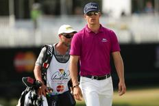 Mar 19, 2015; Orlando, FL, USA; Morgan Hoffmann on the 9th green during the first round of the Arnold Palmer Invitational presented by MasterCard at Bay Hill Club & Lodge . Mandatory Credit: Kevin Liles-USA TODAY Sports