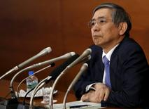 Bank of Japan (BOJ) Governor Haruhiko Kuroda attends a news conference at the BOJ headquarters in Tokyo in this March 17, 2015 file photo. REUTERS/Yuya Shino/Files