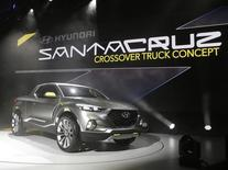 The Hyundai Santa Cruz crossover concept truck is displayed during the first press preview day of the North American International Auto Show in Detroit, Michigan January 12, 2015.  REUTERS/Rebecca Cook