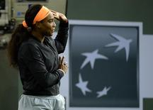 Serena Williams (USA) talks to the crowd announcing her withdrawal due to knee injury. She was to play Samona Halep in the semi-final match at the BNP Paribas Open at the Indian Wells Tennis Garden.  Mandatory Credit: Jayne Kamin-Oncea-USA TODAY Sports