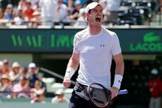 Apr 3, 2015; Key Biscayne, FL, USA; Andy Murray celebrates after his match against Tomas Berdych (not pictured) in a men's singles semi-final on day twelve of the Miami Open at Crandon Park Tennis Center.  Mandatory Credit: Geoff Burke-USA TODAY Sports