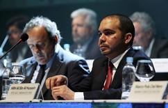 FIFA Vice President Prince Ali bin al-Hussein of Jordan and UEFA President Michel Platini (L) attend the CONMEBOL ordinary congress in Luque March 4, 2015. REUTERS/Jorge Adorno