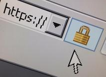 Логотип, обозначающий защищенное соединение с интернетом, на мониторе в Париже 15 апреля 2014 года. Российским хакерам удалось добраться до значимой информации в   компьютерных сетях американского Белого дома после взлома систем Госдепартамента, сообщил CNN со ссылкой на осведомленных американских чиновников. REUTERS/Mal Langsdon