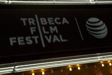"The marquee is seen at world premiere of the film ""Live From New York"" at the 2015 Tribeca Film Festival, in New York April 15, 2015.  REUTERS/Andrew Kelly"