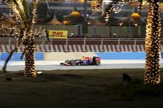Red Bull Formula One Driver Daniel Ricciardo of Australia drives during the second free practice ahead of Bahrain's F1 Grand Prix at Bahrain International Circuit, south of Manama April 17, 2015. REUTERS/Ahmed Jadallah