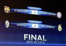 Tela indicando os jogos das semifinais da Liga dos Campeões.  24/04/2015   REUTERS/Denis Balibouse