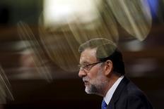 Primeiro-ministro espanhol, Mariano Rajoy, durante encontro em Madri.   15/04/2015   REUTERS/Susana Vera