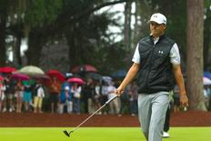 Apr 19, 2015; Hilton Head, SC, USA; Jordan Spieth reacts after finishing play on the first hole during the final round of play at the RBC Heritage at Harbour Town Golf Links. Mandatory Credit: Joshua S. Kelly-USA TODAY Sports