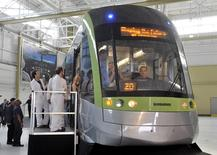 Employees and guests tour a Bombardier LRV train at the manufacturing facilities in Toronto,Canada, in this May 29, 2012 file picture. REUTERS/Mike Cassese/Files
