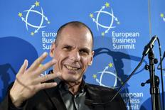 Greece Minister of Finance Yanis Varoufakis attends a debate at the European Business Summit in Brussels, Belgium, May 7, 2015. REUTERS/Eric Vidal