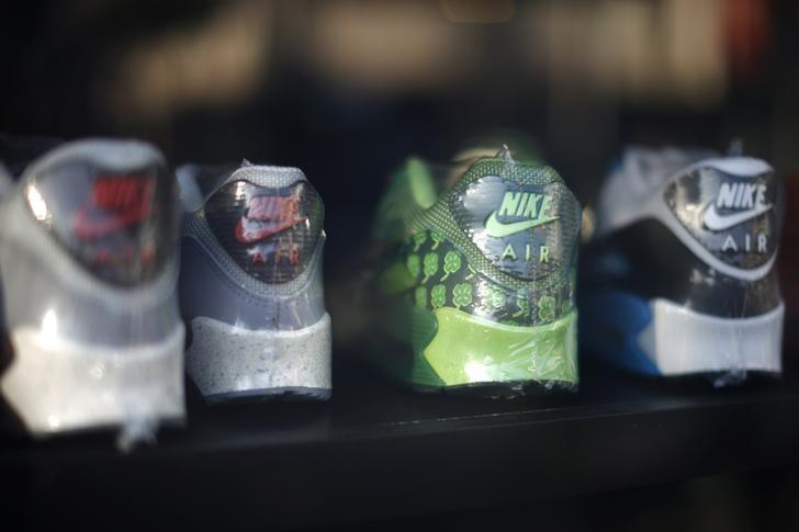 Nike shoes displayed in the window of a store in Los Angeles, California,  March 10, 2015. REUTERS/Lucy Nicholson