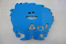 En la imagen, el logo de AOL en la sede de Nueva York. Verizon Communications Inc dijo el martes que comprará AOL Inc en una operación valuada en unos 4.400 millones de dólares, para obtener acceso a sus contenidos y servicios publicitarios digitales. REUTERS/Andrew Kelly