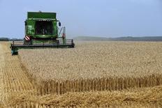 Французские комбайнеры убирают пшеницу. Фотография сделана 31 июля 2014 года.  REUTERS/Benoit Tessier