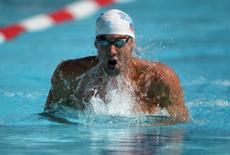 Aug 10, 2014; Irvine, CA, USA; Michael Phelps swims 1:58.74 in a 200m individual medley heat to advance to the final in the 2014 USA National Championships at William Woollett Jr. Aquatics Complex. Mandatory Credit: Kirby Lee-USA TODAY Sports