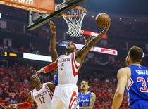 May 17, 2015; Houston, TX, USA; Houston Rockets forward Josh Smith (5) scores a basket during the first quarter against the Los Angeles Clippers in game seven of the second round of the NBA Playoffs at Toyota Center. Mandatory Credit: Troy Taormina-USA TODAY Sports