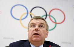 International Olympic Committee (IOC) President Thomas Bach speaks during a news conference at the end of the IOC Executive Board meeting in Rio de Janeiro, February 28, 2015. REUTERS/Pilar Olivares