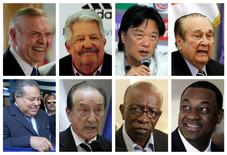 A combination photo shows eight of the nine football officials indicted for corruption charges in these file photos. From L-R: (top row) then President of the Brazilian Football Confederation Jose Maria Marin, President of the Venezuelan Football Federation Rafael Esquivel, President of Costa Rica's Football Federation Eduardo Li, then President of South American Football Confederation CONMEBOL Nicolas Leoz, (bottom row) then President of the Nicaraguan Football Federation Julio Rocha, then Acting President of CONMEBOL Eugenio Figueredo, then FIFA Executive member Jack Warner, and President of Confederation of North, Central America and Caribbean Association Football CONCACAF Jeffery Webb. Seven of the most powerful figures in global soccer faced extradition to the United States on corruption charges after being arrested on May 27, 2015, in Switzerland, where authorities also announced a criminal investigation into the awarding of the next two World Cups. The U.S. Department of Justice named those arrested in its case as: Webb, Li, Rocha, Costas Takkas, Figueredo, Esquivel and Marin. U.S. authorities said nine football officials, including Warner and Leoz, and five sports media and promotions executives faced corruption charges involving more than $150 million in bribes.  REUTERS/Staff/Files