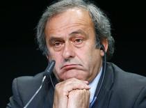 Presidente da Uefa, Michel Platini, em entrevista coletiva em Zurique. 28/05/2015 REUTERS/Ruben Sprich