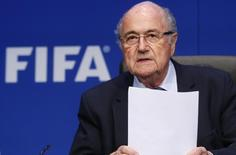 Re-elected FIFA President Sepp Blatter arrives for a news conference after an extraordinary Executive Committee meeting in Zurich, Switzerland, May 30, 2015.  REUTERS/Arnd Wiegmann